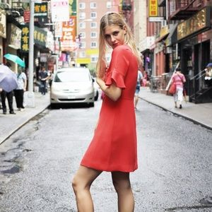 NWT Banana Republic Red Flutter Sleeve Dress